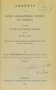 Cover of: Address to the Royal Geographical Society of London