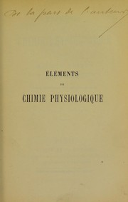 Cover of: El©♭ments de chimie physiologique