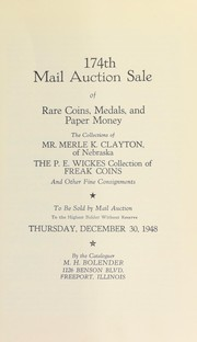 Cover of: 174th mail auction sale of rare coins, medals, and paper money | M. H. Bolender