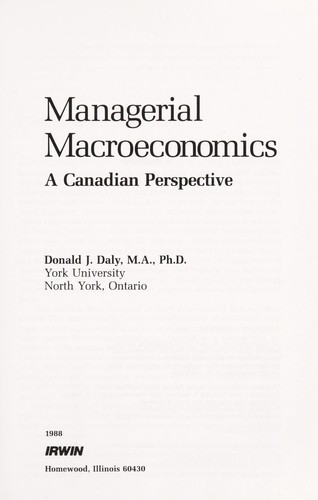 Managerial Macroeconomics by Donald J. Daly