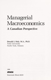 Cover of: Managerial Macroeconomics | Donald J. Daly