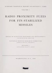 Cover of: Radio proximity fuzes for fin-stabilized missiles