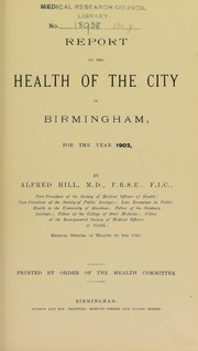 Cover of: [Report 1902] | Birmingham (England). Council