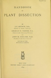 Cover of: Handbook of plant dissection