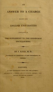 Cover of: An answer to a charge against the English universities contained in the supplement to the Edinburgh encyclopaedia