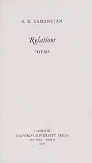Cover of: Relations: poems