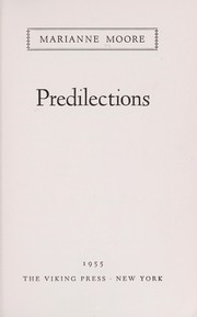 Cover of: Predilections