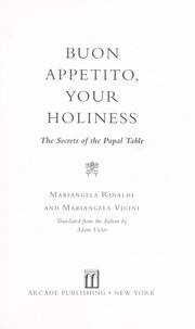 Cover of: Buon appetito, your holiness
