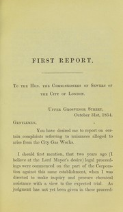 Cover of: Reports by the Medical Officer of Health on complaints of nuisance from the City of London Gas Company's works