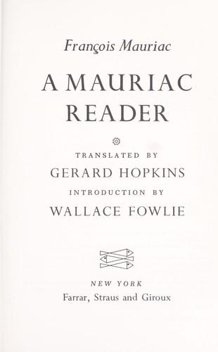 A Mauriac reader.