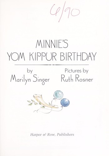 Minnie's Yom Kippur birthday by Marilyn Singer