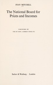 Cover of: The National Board for Prices and Incomes | Mitchell, Joan
