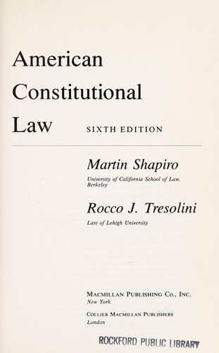 American constitutional law by Martin M. Shapiro