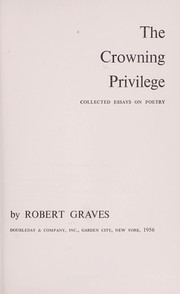 Cover of: The crowning privilege: collected essays on poetry.