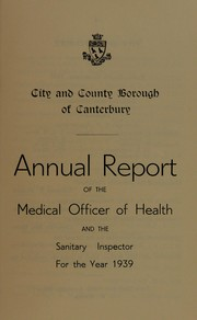 Cover of: [Report 1939] | Canterbury (England). City & County Council