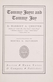 Cover of: Tommy Joyce and Tommy Joy | Harriet A. Cheever