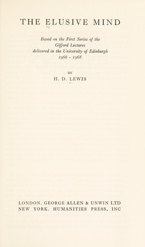 The elusive mind by Hywel David Lewis