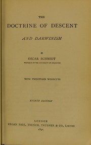 Cover of: The doctrine of descent and Darwinism | Schmidt Dr