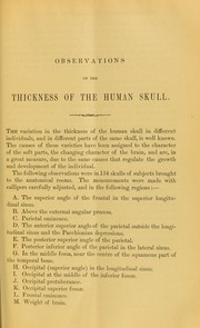 Cover of: Observations on the thickness of the human skull