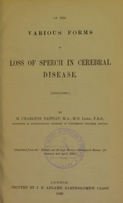 Cover of: On the various forms of loss of speech in cerebral disease (concluded)