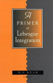 Cover of: A primer of Lebesgue integration