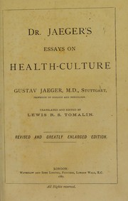 Cover of: Dr Jaeger's essays on health-culture