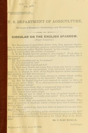 Cover of: Circular on the English sparrow (Passer domesticus) | C. Hart Merriam
