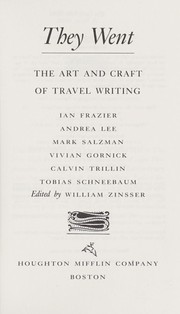 Cover of: They went : the art and craft of travel writing |