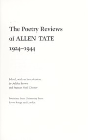 Cover of: The poetry reviews of Allen Tate, 1924-1944