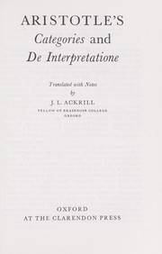 Cover of: Categoriae: et Liber de interpretatione
