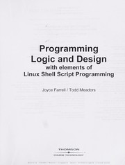 Cover of: Programming logic and design | Joyce Farrell