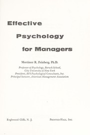 Cover of: Effective Psychology for Managers