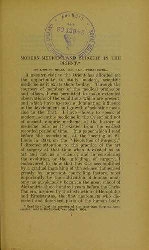 Modern medicine and surgery in the Orient by J. Ewing Mears