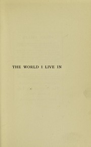 Cover of: The world I live in
