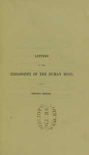 Cover of: Letters on the philosophy of the human mind : second series
