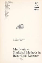 Cover of: Multivariate statistical methods in behavioral research | R. Darrell Bock