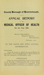 Cover of: [Report 1909] | Bournemouth (England). County Borough Council. nb2004301338