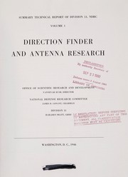 Cover of: Direction finder and antenna research | United States. Office of Scientific Research and Development. National Defense Research Committee