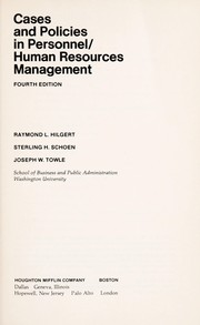 Cover of: Cases and policies in personnel/human resources management