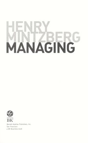 Cover of: Managing | Henry Mintzberg