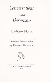 Cover of: Conversations with Berenson