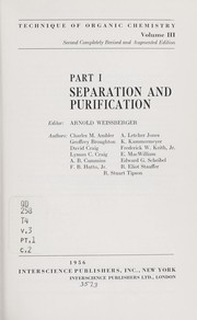 Cover of: Technique of organic chemistry