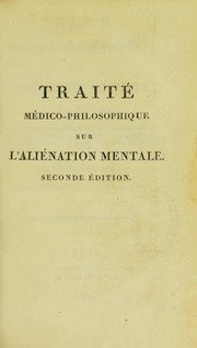 Cover of: Traite medico-philosophique sur l'alienation mentale