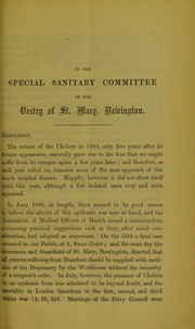 Cover of: Special report of the Medical Officer of Health, to the vestry of St. Mary, Newington, Surrey, on the cholera epidemic of 1866 | Saint Mary (Newington, London, England : Parish). Medical Officer of Health