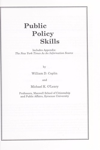 Public policy skills : includes appendix, The New York times as an information source by