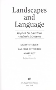 Cover of: Landscapes and language | Kay Lynch Cutchin