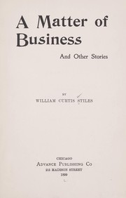 Cover of: A matter of business, and other stories