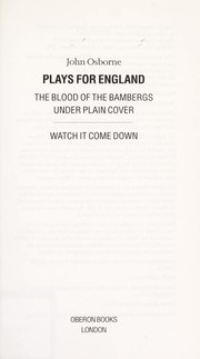 Cover of: Plays for England