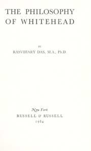 Cover of: The philosophy of Whitehead