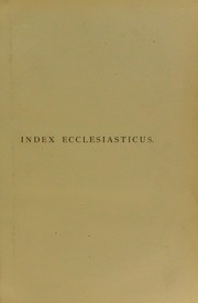 Cover of: Index ecclesiasticus